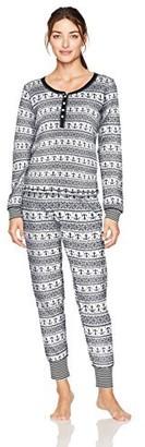 Tommy Hilfiger Plus Size Women's Long Sleeve Thermal Pajama Set Pj