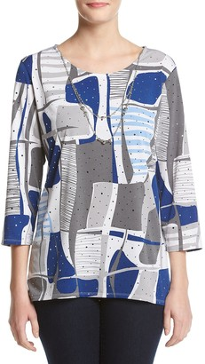 Alfred Dunner Women's Printed Shirt with Necklace