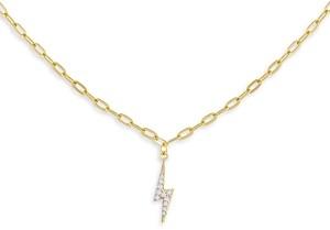 Adina's Jewels Cubic Zirconia Lightning Bolt Pendant Necklace, 16-18