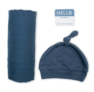 Lulujo - Hello World Blanket & Knotted Hat - Navy