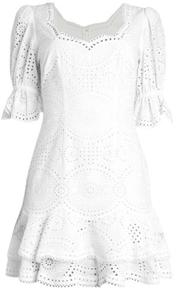 Jonathan Simkhai Meg Broderie Puff-Sleeve Mini Dress