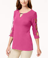 JM Collection Lattice-Sleeve Top, Created for Macy's