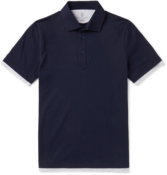 Brunello Cucinelli Slim-Fit Layered Cotton-Jersey Polo Shirt - Men - Blue