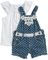 Nannette Baby Girls Baby Girls Heart Print Overalls and Tee Set