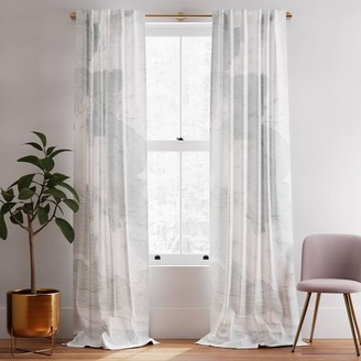 west elm Cotton Canvas Etched Cloud Curtains (Set of 2) - Washed Blue Gemstone