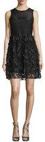 Nanette Lepore Sleeveless Mesh-Striped Combo Fit-&-Flare Dress, Black