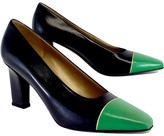 St. John Navy & Green Leather Heels