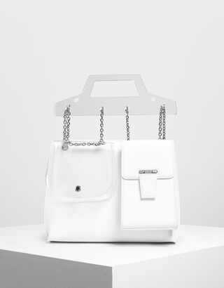 Charles & Keith Chain Link Triple-Compartment Bag