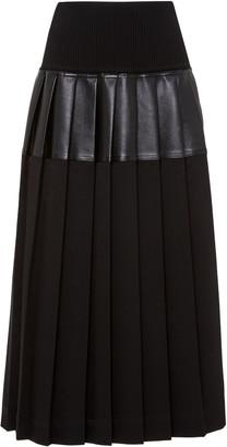 Peter Do Pleated Leather-Paneled Midi Skirt