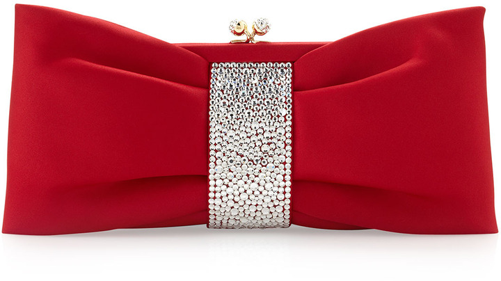 Moschino Satin Bow Clutch Bag, Red