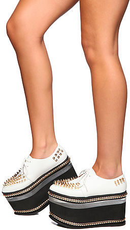 Jeffrey Campbell The Wakeling Shoe in White and Gold