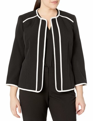 Kasper Women's Jewel Neck Crepe Fly Away Jacket with White Piping Detail