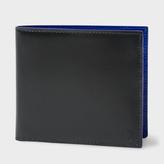 Paul Smith Men's Black Saffiano Stripe Leather Indigo Interior Billfold Wallet