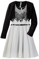 Beautees Flocked Skater Dress & Bolero Jacket Set (Big Girls)
