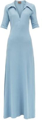 Albus Lumen - V-neck Cotton-terry Shirtdress - Womens - Blue