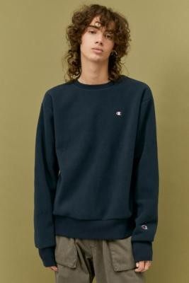 Champion Polar Fleece Navy Crew Neck Sweatshirt - Blue S at Urban Outfitters