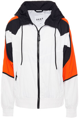 DKNY Color-block Crinkled-shell Hooded Track Jacket