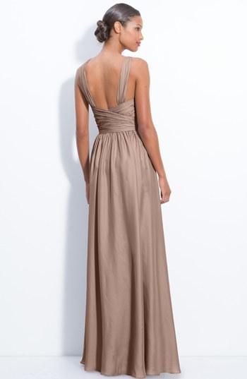 Monique Lhuillier Bridesmaids Twist Shoulder Satin Chiffon Gown (Nordstrom Exclusive)