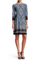 London Times 3/4 Length Sleeve Scroll Paisley Dress (Petite)