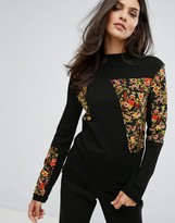 Warehouse Floral Patchwork Sweater