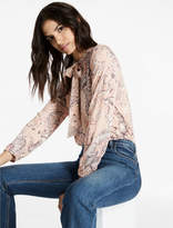 Lucky Brand Printed Tie Neck Knit Blouse