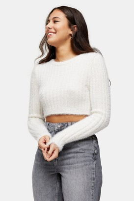 Topshop Womens Petite Ivory Fluffy Ribbed Cropped Jumper - Ivory