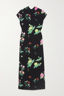 BERNADETTE Valentine Floral-print Crepe Midi Dress - Black