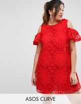 Asos Lace Cold Shoulder Dress