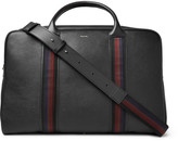 Paul Smith - City Webbing Stripe-trimmed Pebble-grain Leather Holdall