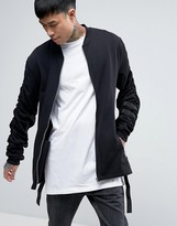 Asos Longline Jersey Bomber Jacket With Ruched Sleeves & Taping