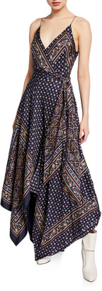 Jonathan Simkhai Scarf-Print Sleeveless Long Handkerchief Dress