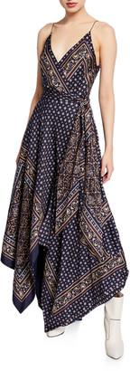 Jonathan Simkhai Scarf-Print Sleeveless Long Handkerchief Dress