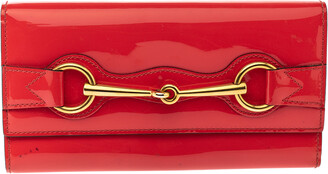 Gucci Orange Patent Leather Horsebit Continental Wallet