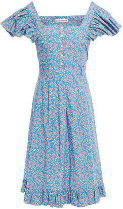 Paco Rabanne Ruffle-trimmed Floral-print Cotton-poplin Dress