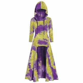 Toamen Women Women Dress Tops Toamen Halloween Christmas Print Long Sleeve Vintage Cloak Tunic Tops
