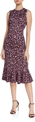 Erdem Grazia Leopard-Print Sleeveless Flounce-Hem Midi Dress