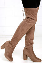 Chinese Laundry Kiara Grey Suede Over the Knee Boots