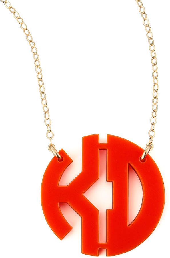Moon and Lola Acrylic Block Two-Letter Monogram Pendant Necklace