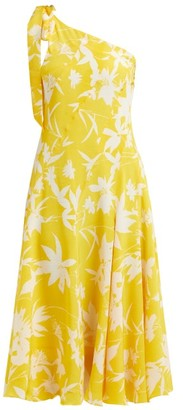 Beulah - Bipasha Asymmetric Floral-print Silk Midi Dress - Womens - Yellow Multi