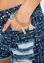 Missguided Gold Babe Power Charm Bracelet, Multi