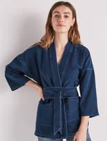 Lucky Brand Dark Knit Denim Kimono Wrap Jacket