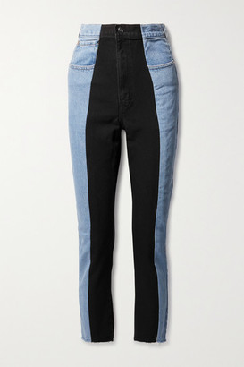 E.L.V. Denim + Net Sustain The Twin Frayed Two-tone High-rise Straight-leg Jeans - Light denim