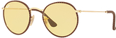Ray-Ban RB3475Q Round Craft Sunglasses, Gold/Yellow