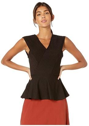 BCBGMAXAZRIA Asymmetrical Hem Knit Top (Black Combo) Women's Blouse