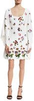 Andrew Gn Flower-Embellished Long-Sleeve Dress, White