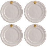 Juliska S/4 Acanthus Cocktail Plates, White/Gold