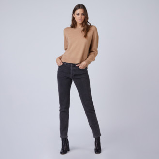DSTLD Italian Brushed Cashmere Crew Neck Sweater in Camel
