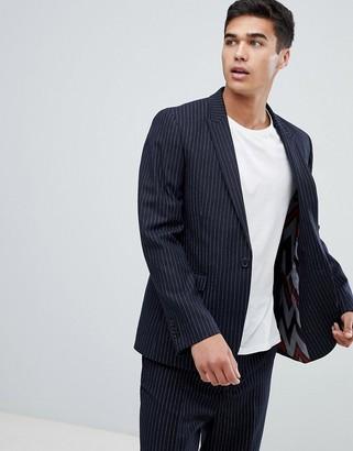 Asos DESIGN slim suit jacket in navy wool blend pinstripe