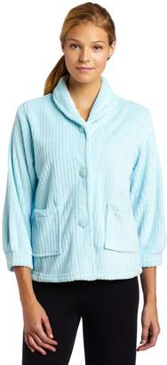 Casual Moments Womens Bed Jacket with Shawl Collar Light Aqua Small