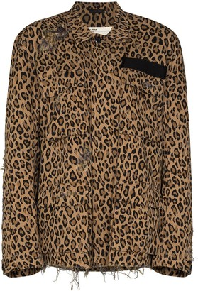 R 13 Shredded Leopard Print Jacket